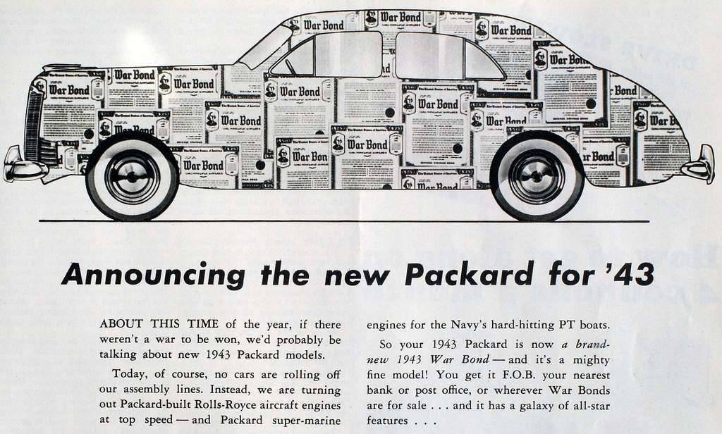 1943 PACKARD WWII ADVERT-B&W