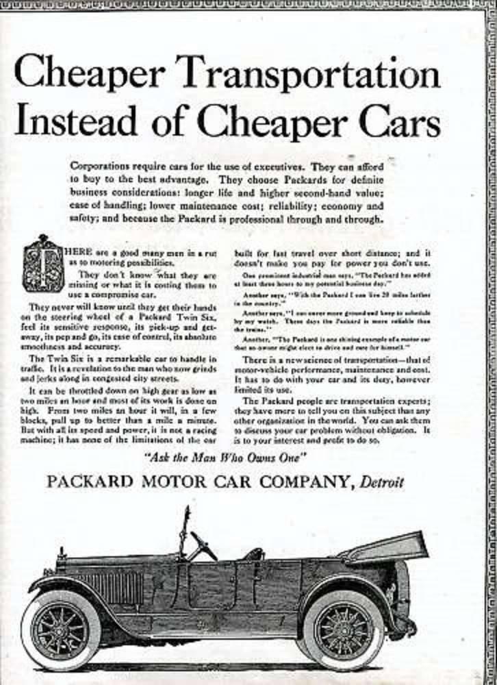 1919 PACKARD ADVERT-B&W