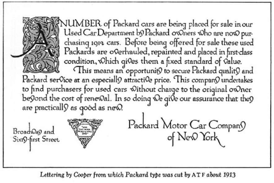 1913 PACKARD PRINTING TYPE ADVERT-B&W