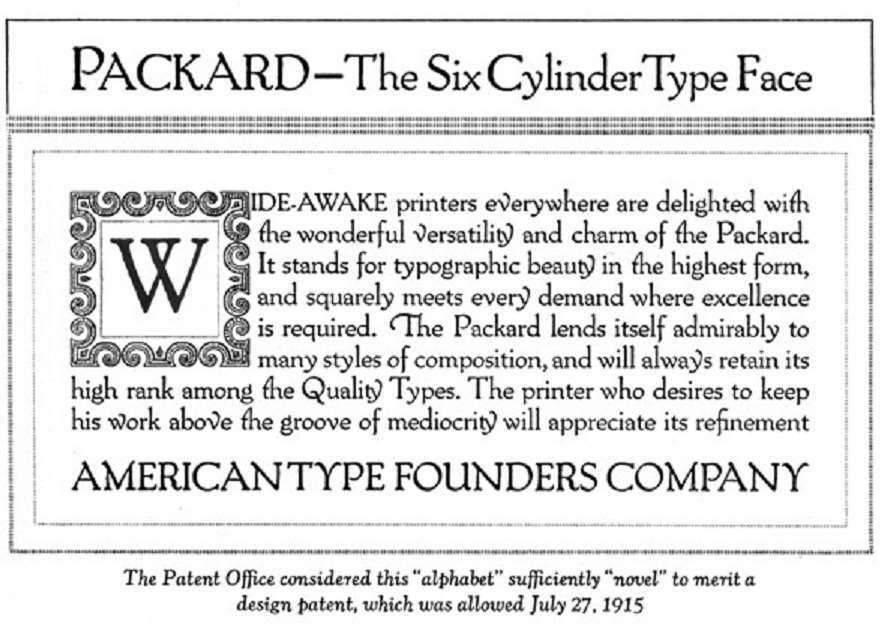 1915 PACKARD PRINTING TYPE ADVERT-B&W