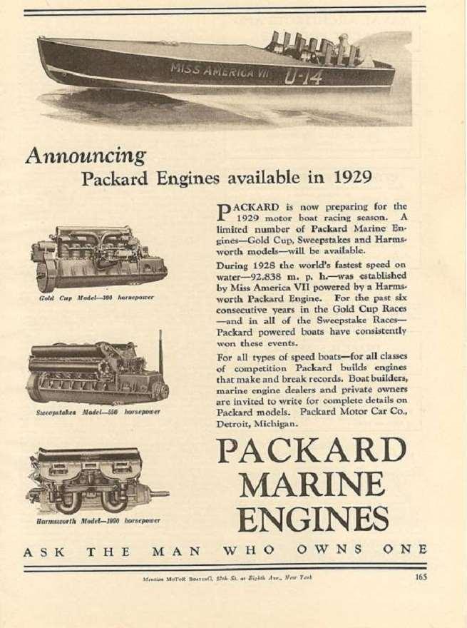 1929 PACKARD MARINE ADVERT-B&W