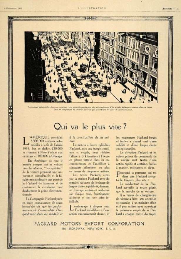 1920 PACKARD-FRANCE EXPORT ADVERT-B&W