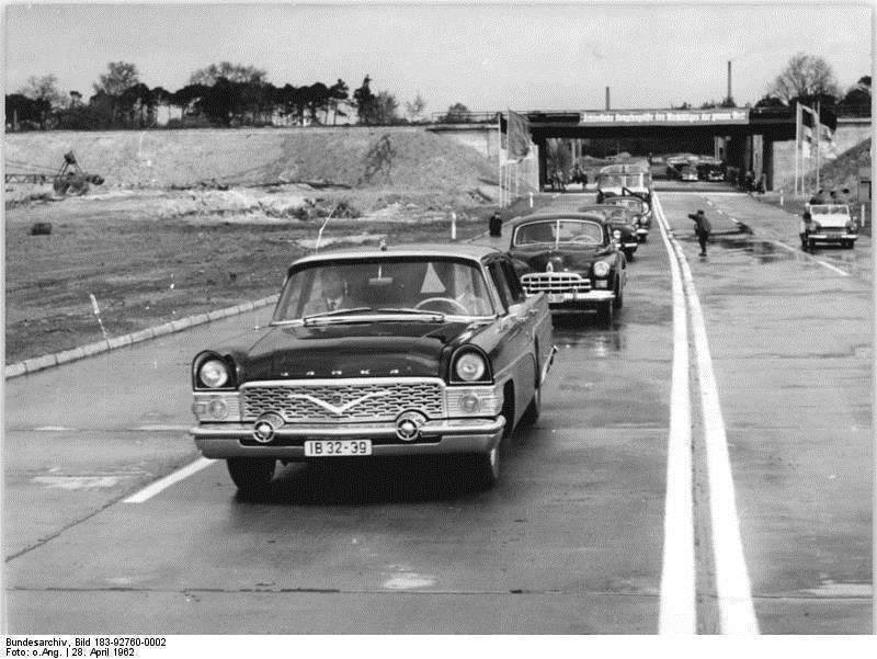 "GAZ-13 ""Tchaika"" in front of GAZ-12 ZIM, Eastern Berlin, 1962"