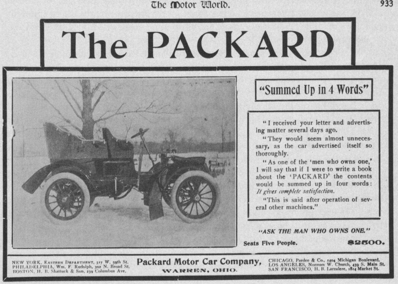 1903 PACKARD ADVERT-B&W