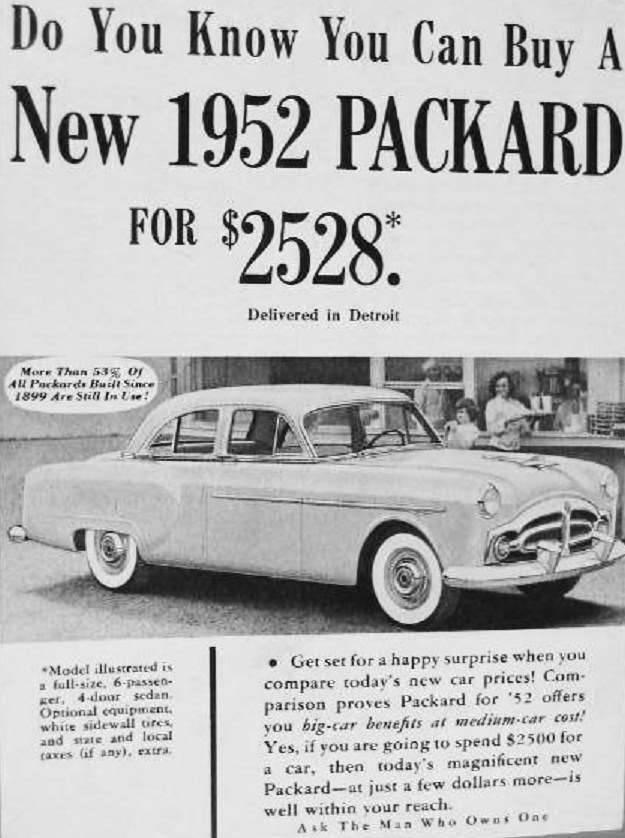 1952 PACKARD ADVERT-B&W