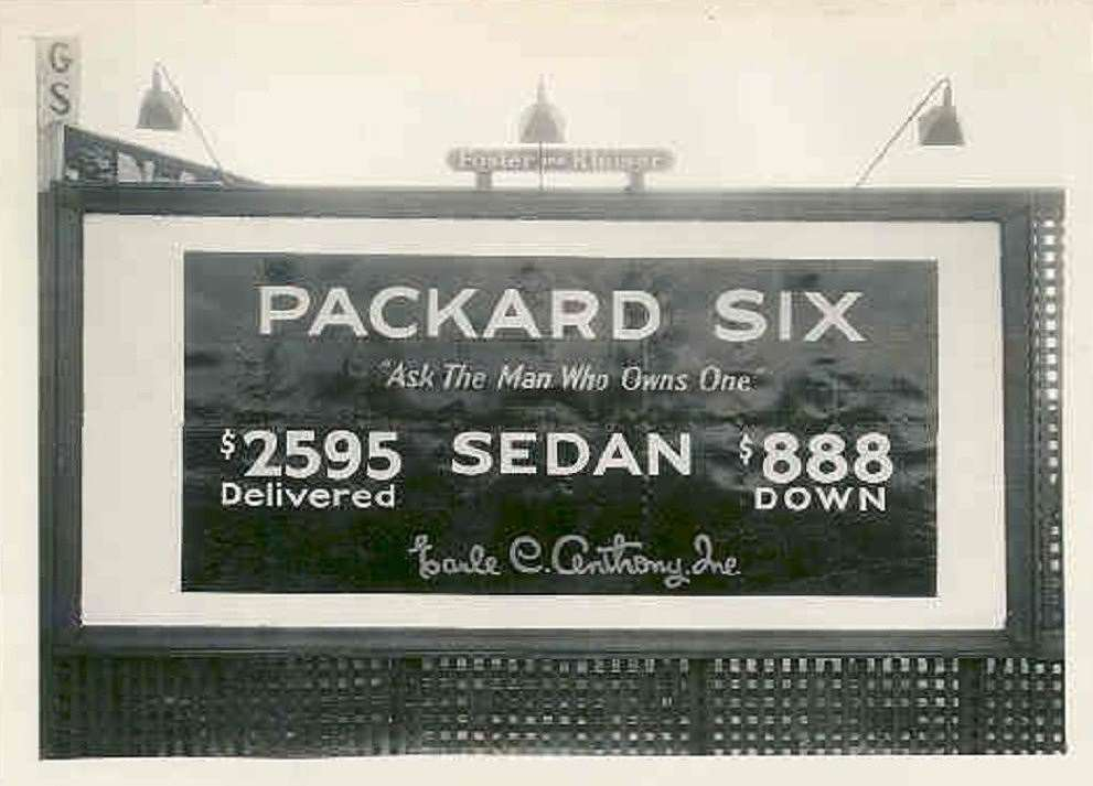 1928 PACKARD SIX BILLBOARD ADVERT SIGN-B&W