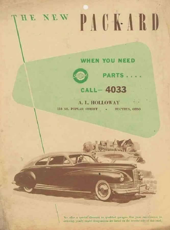 1946 PACKARD DEALER PARTS ADVERT/POSTER
