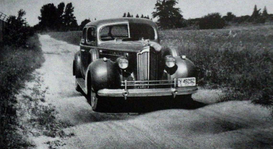 1940 PACKARD SEDAN AT THE PROVING GROUNDS