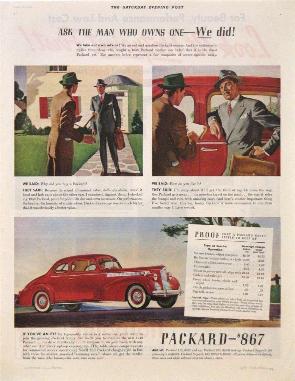 1940 PACKARD 110 SIX ADVERT