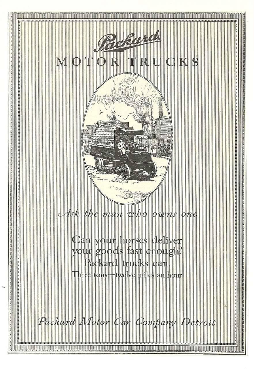 1910 PACKARD TRUCK ADVERT-B&W