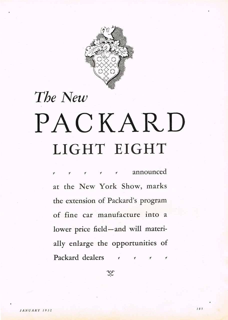 1932 PACKARD ADVERT-B&W