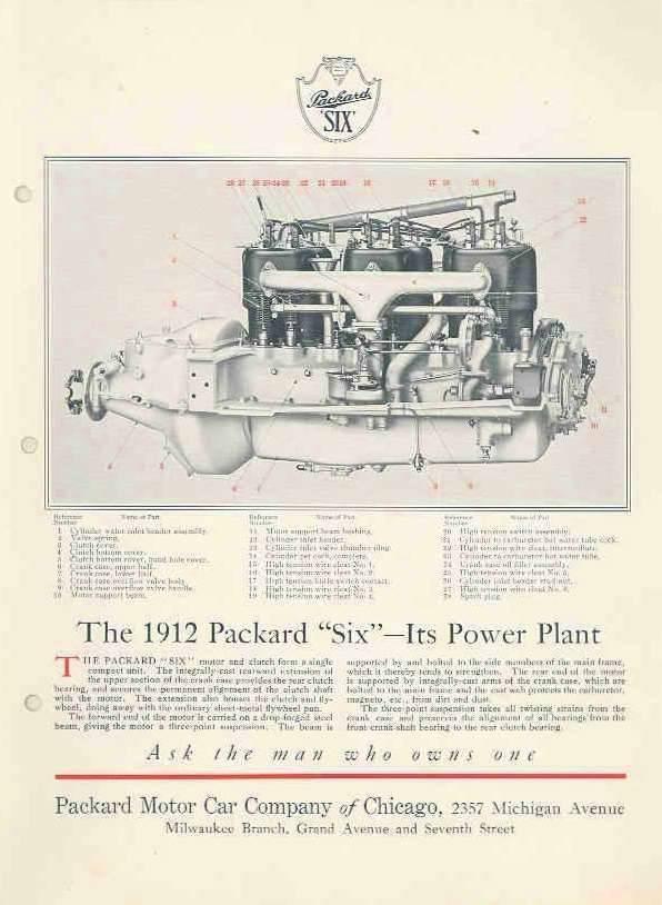 1912 PACKARD SIX ENGINE SHEET
