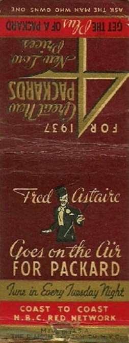 1937 PACKARD FACTORY MATCHBOOK ADVERT