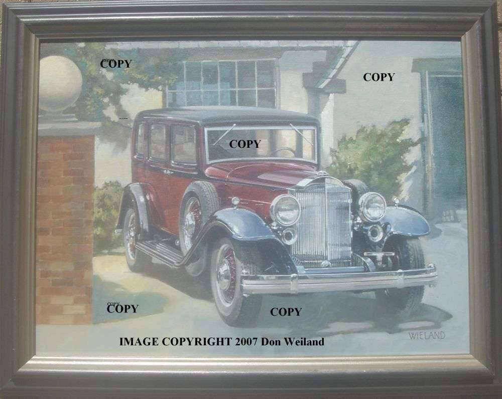 Don Weiland painting of 1932 Packard 905 twin-six sedan