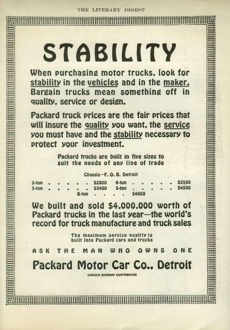 1913 PACKARD TRUCK ADVERT-B&W