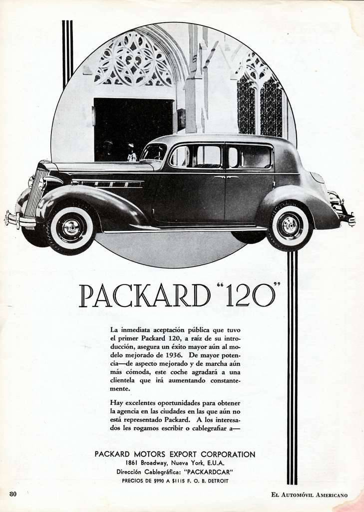 1936 PACKAR 120 EXPORT ADVERT-B&W