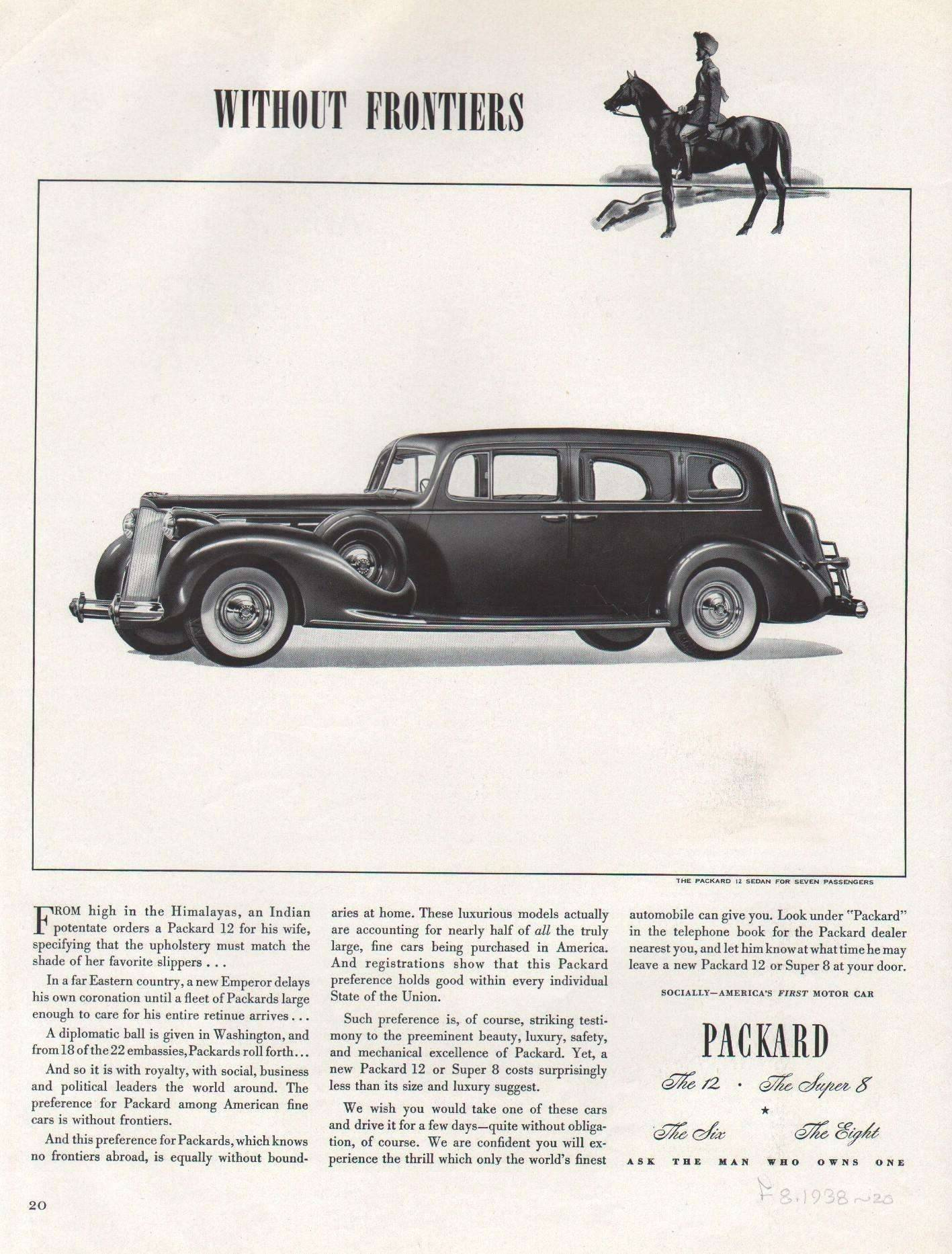 1938 Twelve Sedan for Seven Passengers - Advertisement Fortune magazine 8 -1938 Page 20