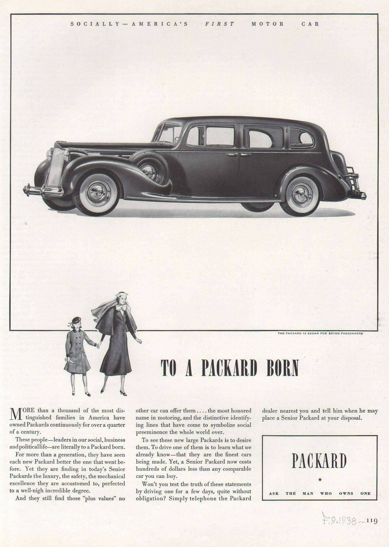 1938 Twelve Sedan for Seven Passengers Advertisement - Fortune Magazine 9/38