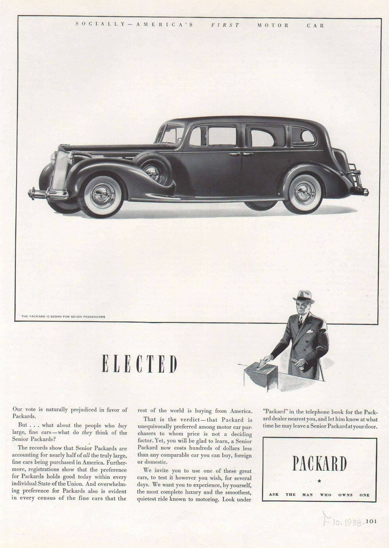1938 Twelve Sedan for 7 Passengers Advertisement - Fortune Magazine 10/38