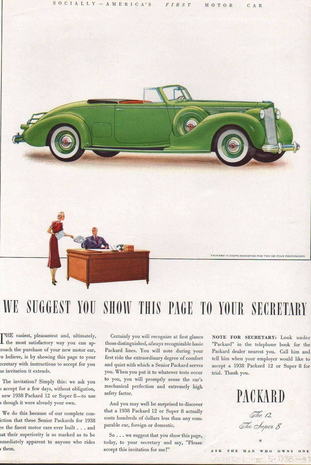 1938 Twelve Coupe-Roadster for 2 or 4 Passengers Advertisement - Country Life 5/38