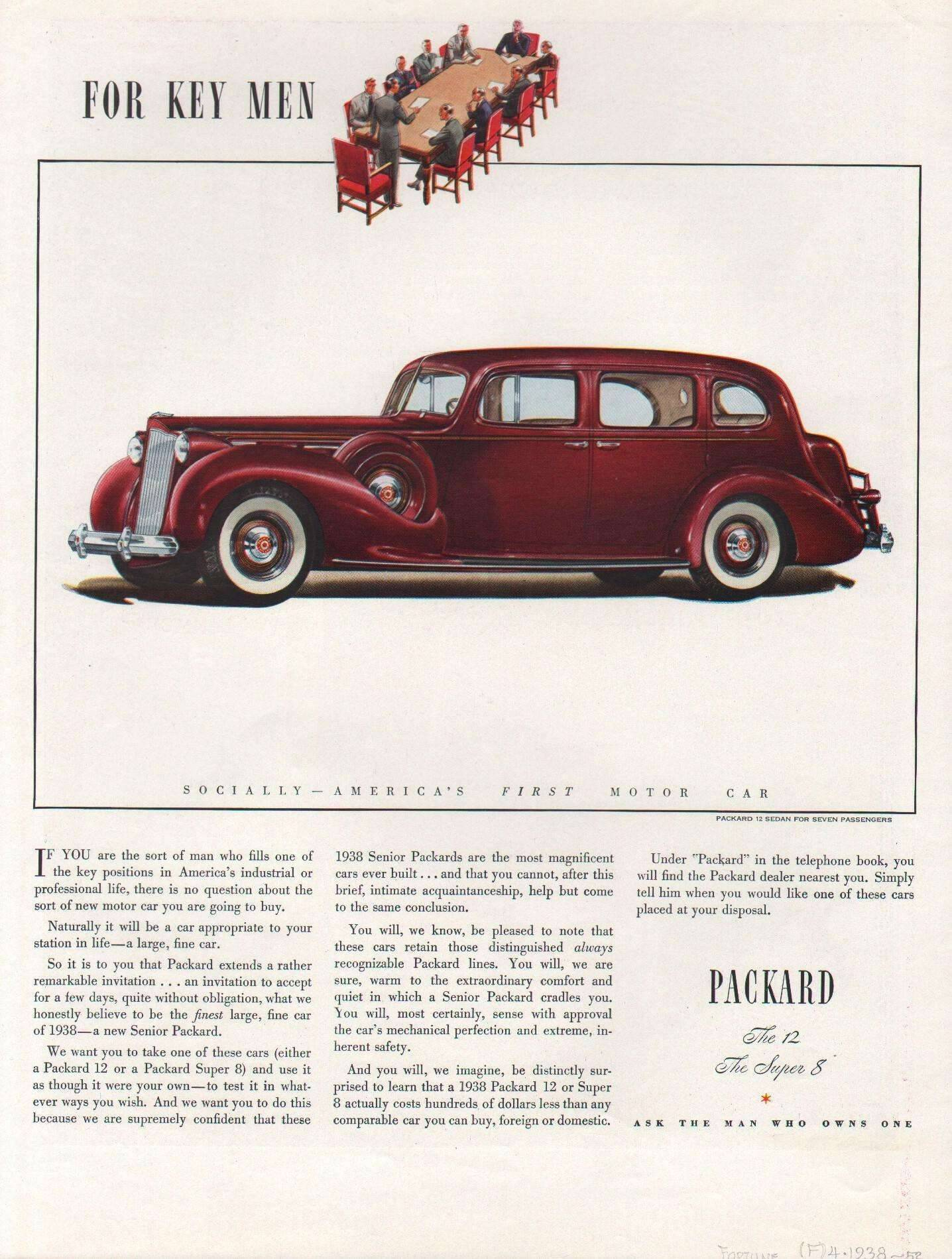 1938 Twelve Sedan for Seven Passengers Advertisement - Fortune Magazine 4/38