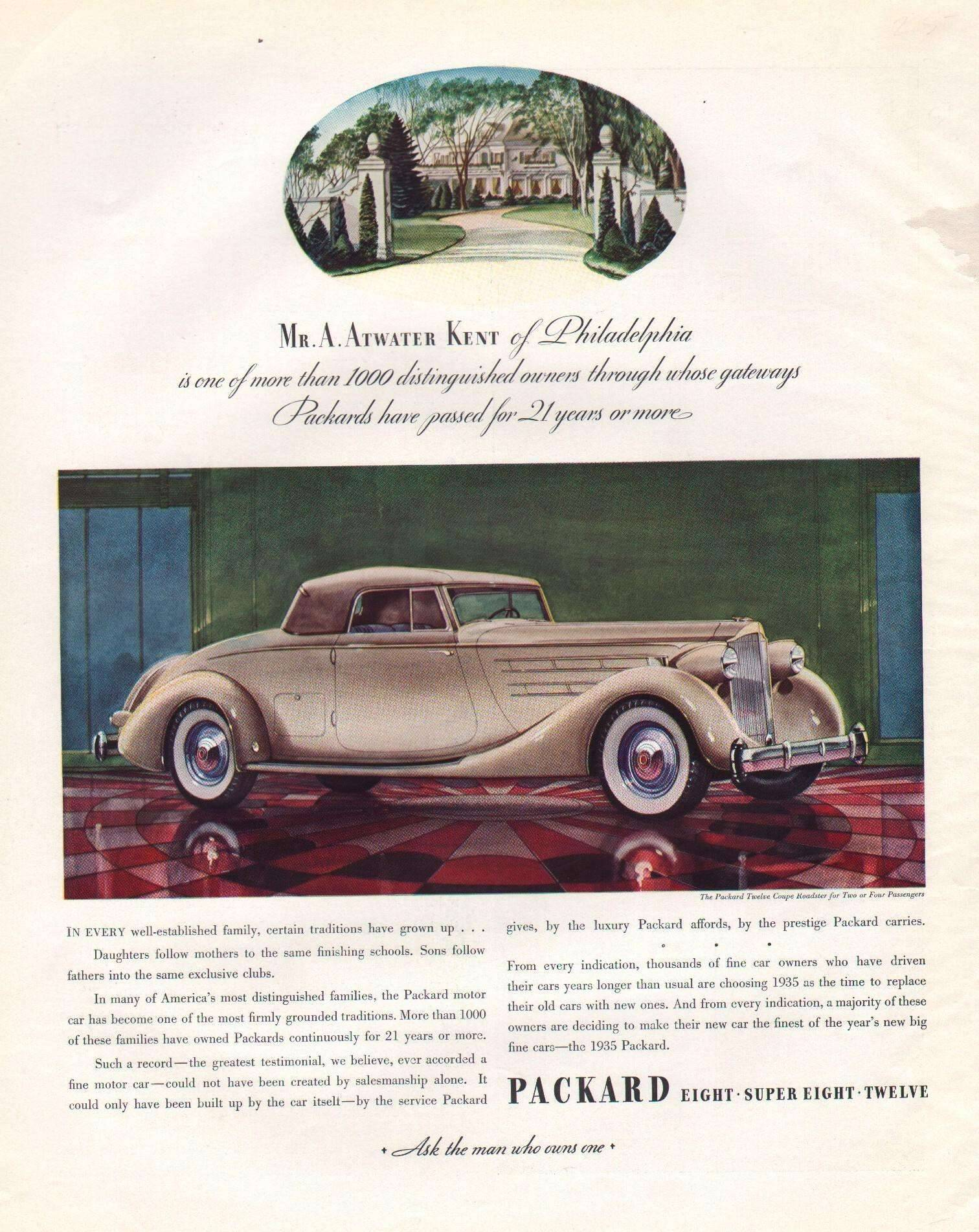 1935 Twelve Coupe Roadster for Two or Four Passengers - Advertisement