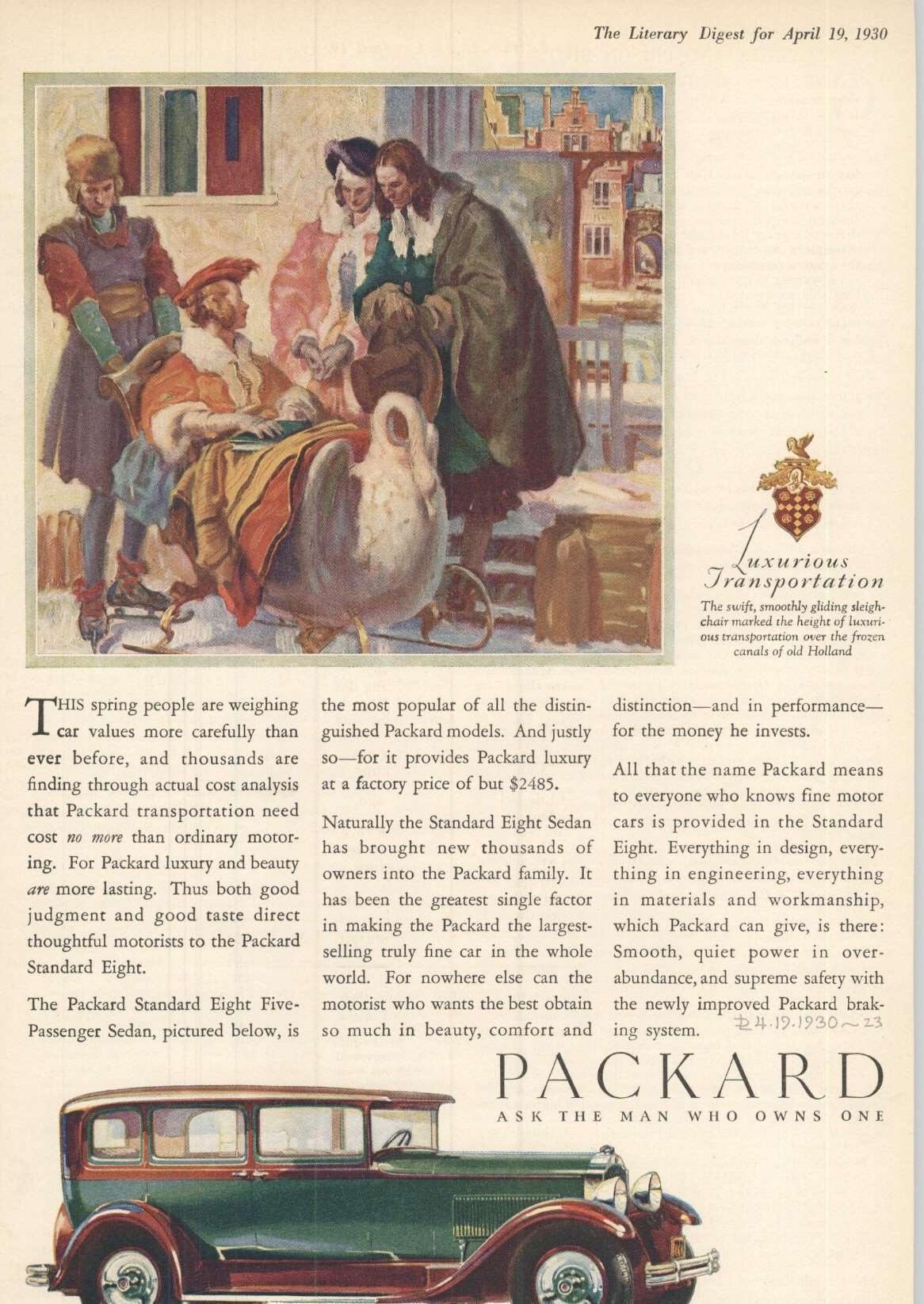 1930 Standard Eight Five Passenger Sedan - Advertisement