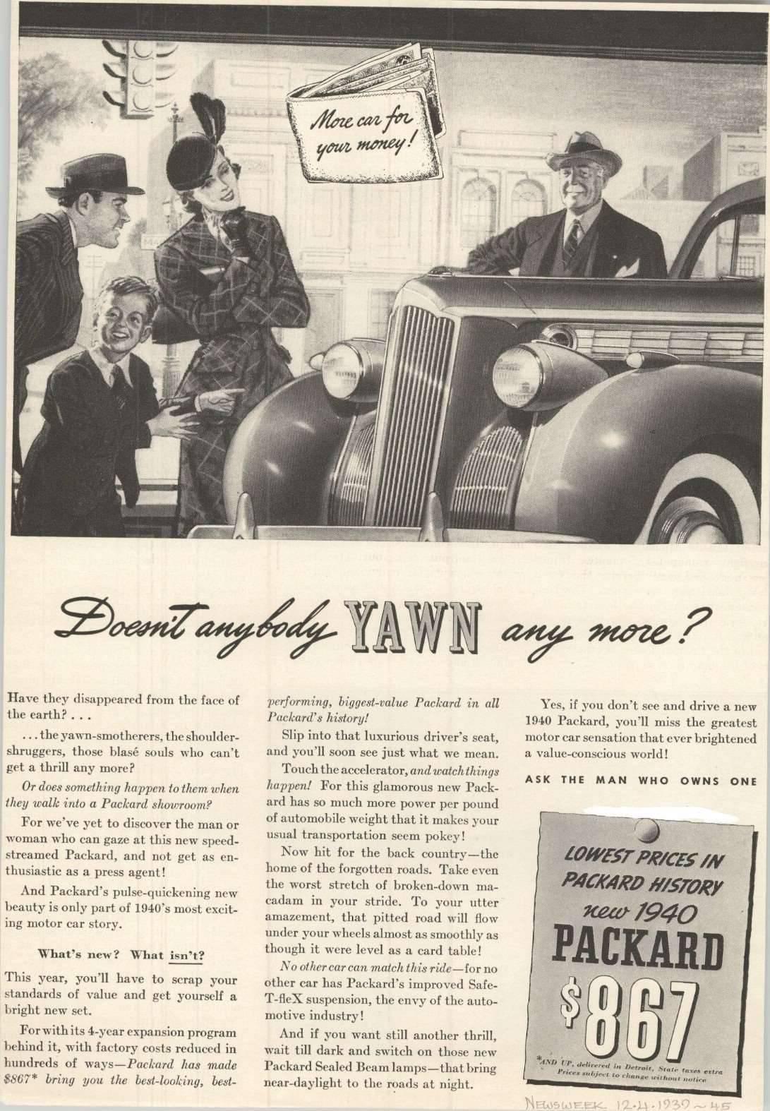 1940 Packard Advertisement - Newsweek 12/39
