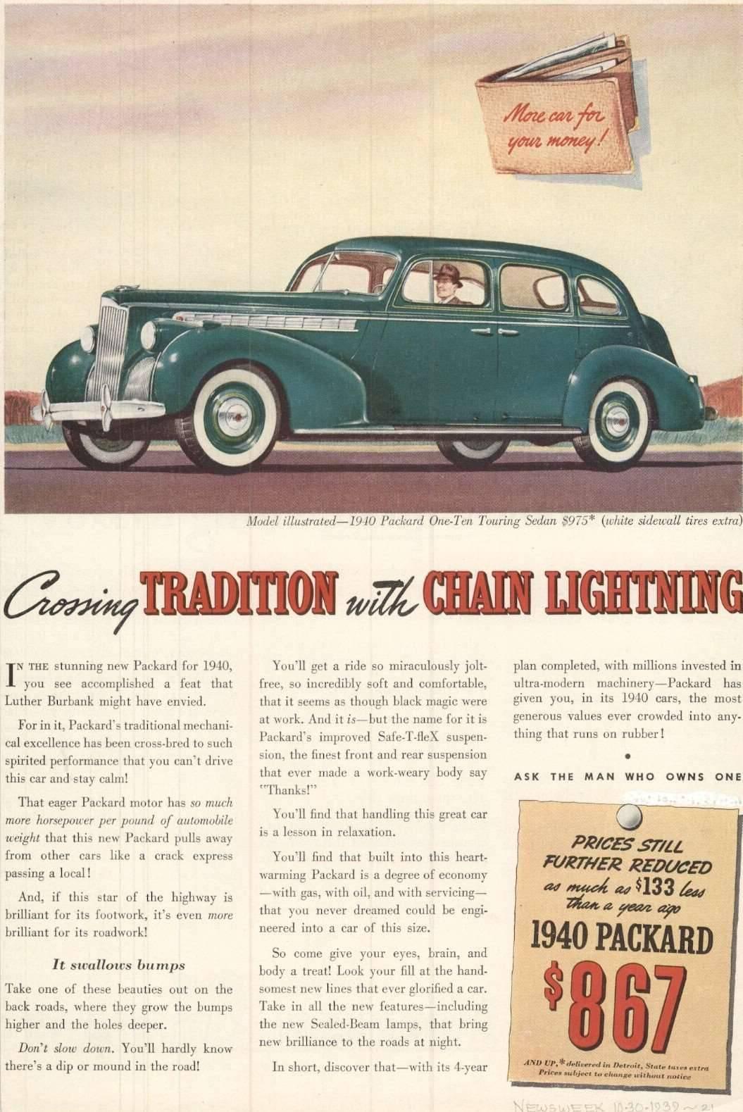 1940 Packard 110 Touring Sedan Advertisement -  Newsweek 10/39