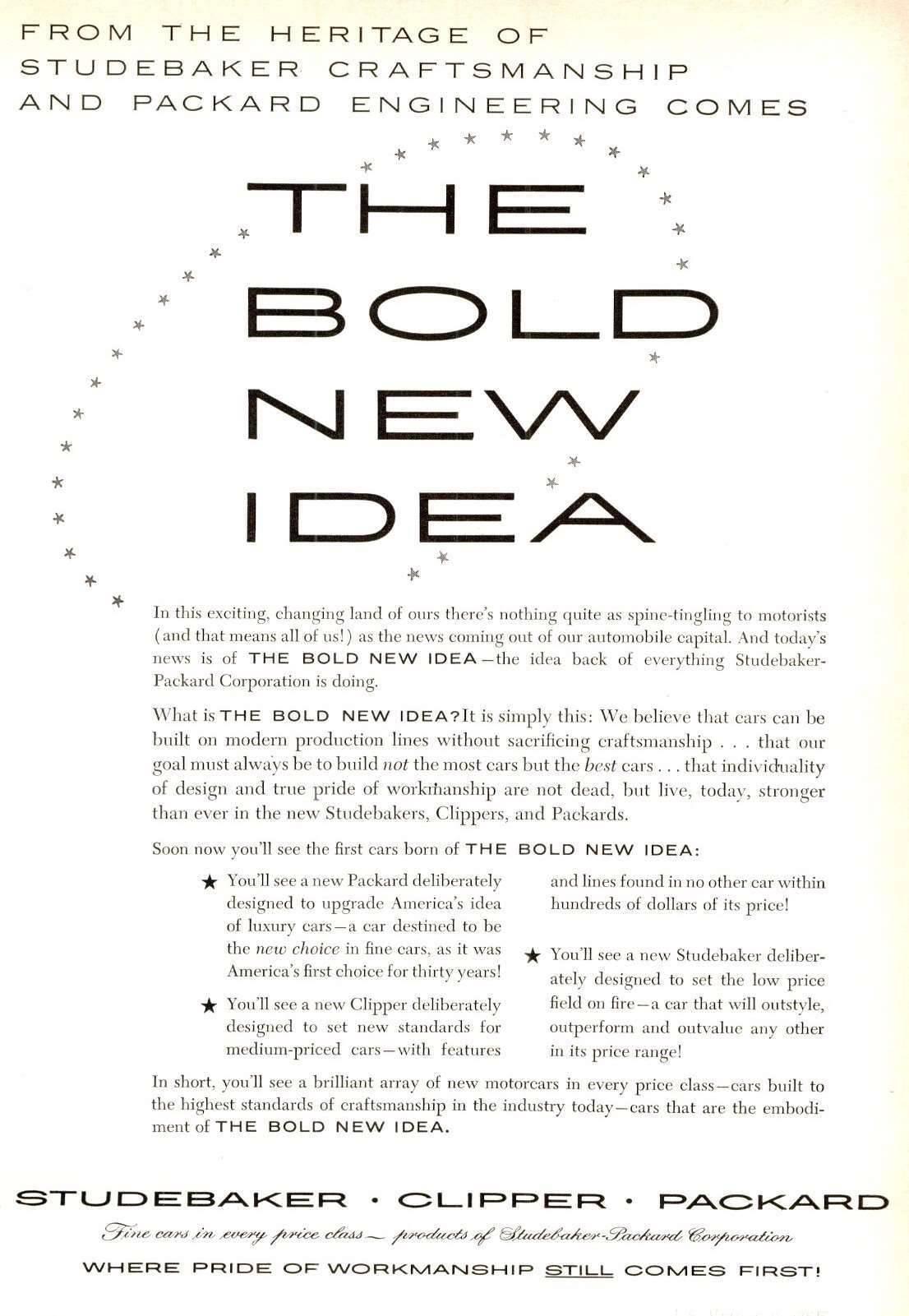 Packard-Studebaker The Bold New Idea Advertisement