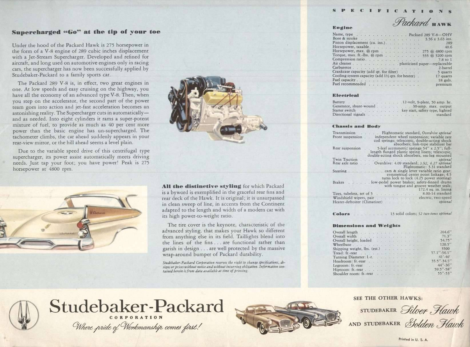 1958 Packard Hawk Advertisement