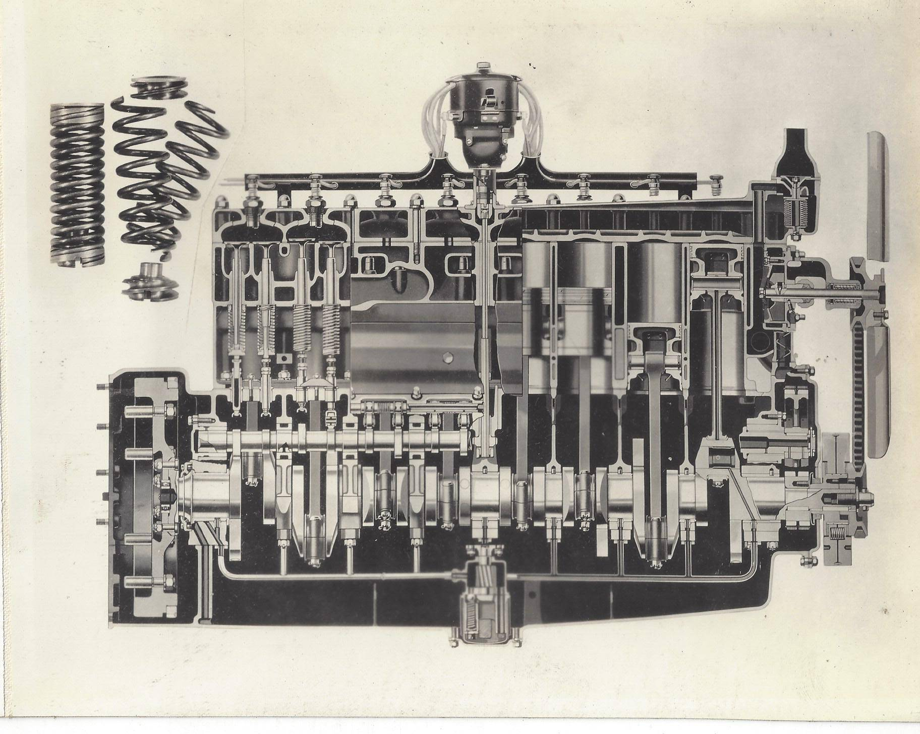 CROSS-SECTIONAL VIEW OF CYLINDERS, PISTONS, VALVES, VALVE SPRINGS, ETC. - 578fr-D