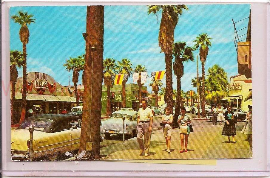 1956 Caribbean Yellow Palm Springs Post Card