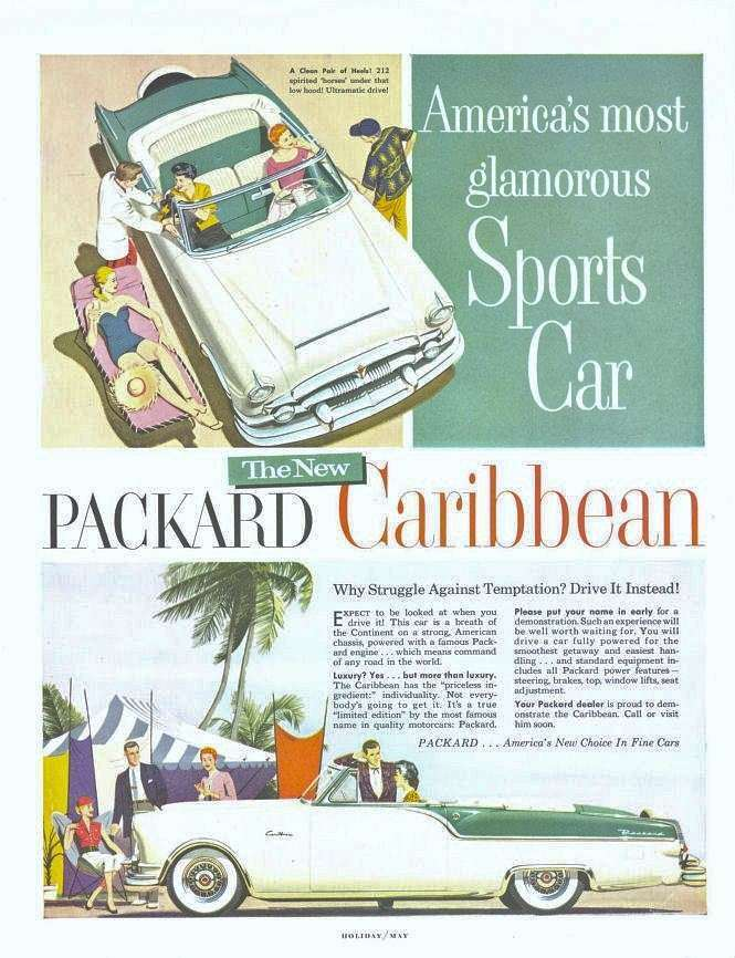 1954 PACKARD CARIBBEAN CONV ADVERT-WHITE&GREEN