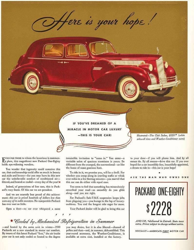 1940 PACKARD 180 SUPER EIGHT CLUB SEDAN ADVERTISEMENT