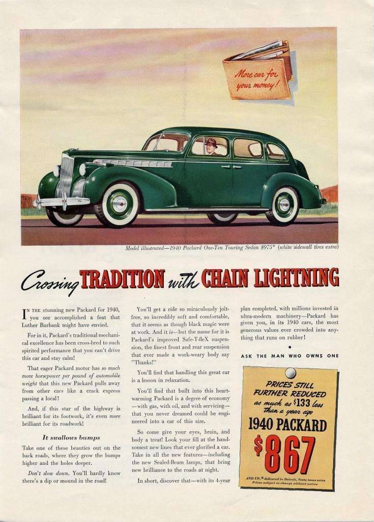 1940 Packard 110 Advertisement -Crossing Tradition with Chain Lightning-