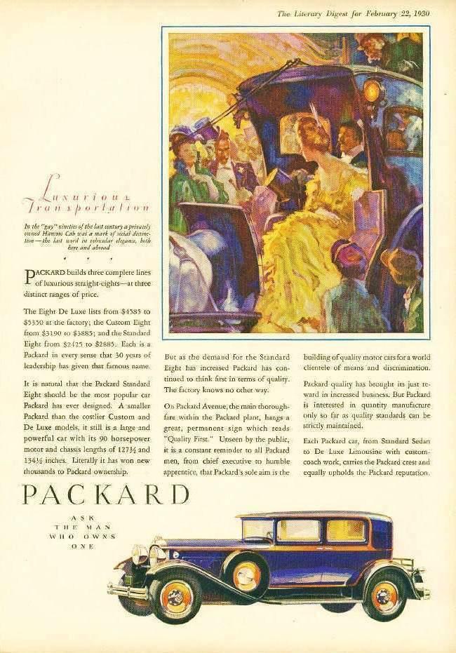 1930 PACKARD AD 'LUXURIOUS TRANSPORTATION'