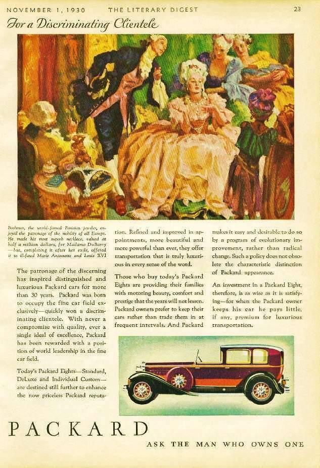 1930 PACKARD AD 'MARIE ANTOINETTE'