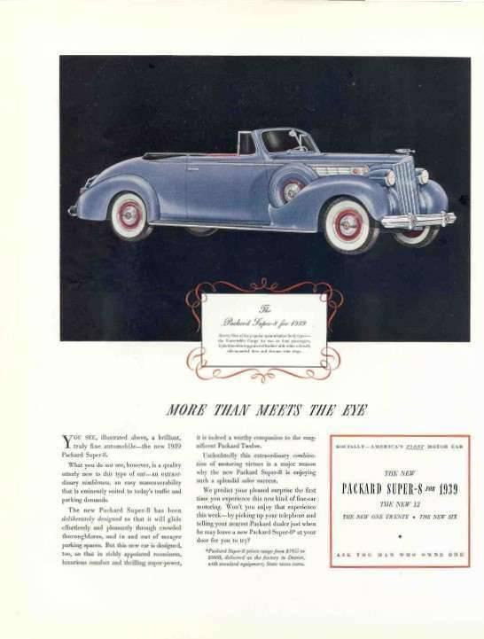 1939 PACKARD SUPER EIGHT CONV ADVERT