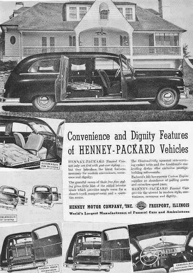 1948 PACKARD HENNEY HEARSE ADVERT-B&W