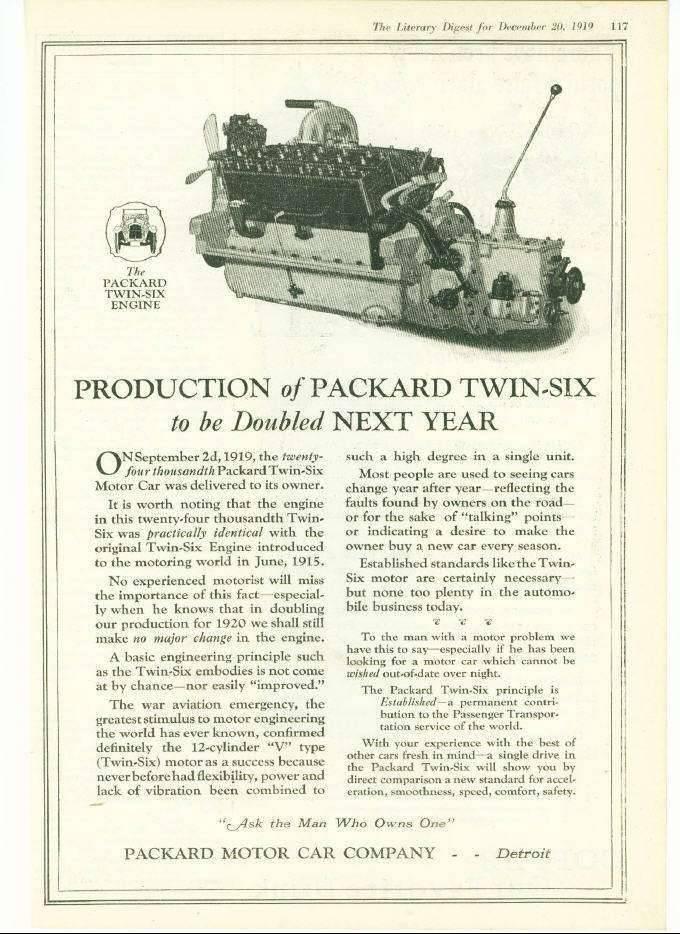 1919 PACKARD TWIN-SIX V12 ENGINE ADVERT-B&W
