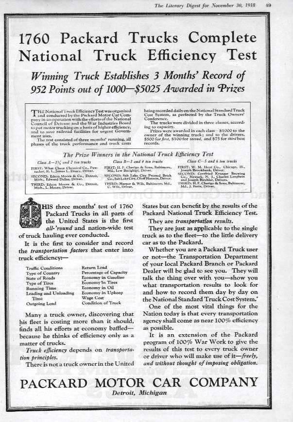 1918 PACKARD TRUCK ADVERT-B&W
