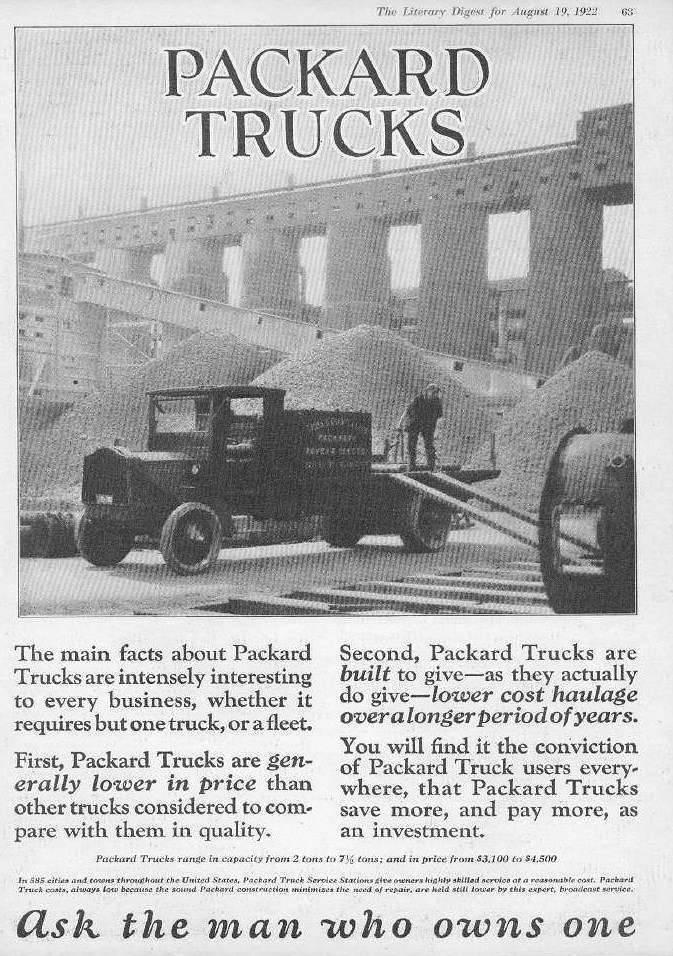 1922 PACKARD TRUCK ADVERT-B&W