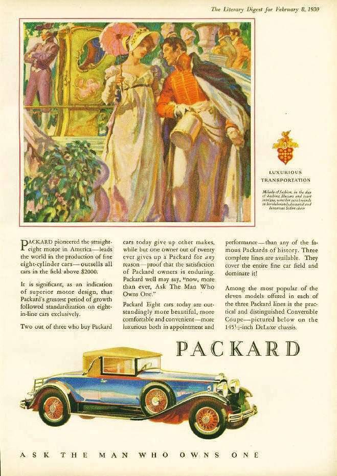 1930 PACKARD ADVERT - 'MILADY OF FASHION'