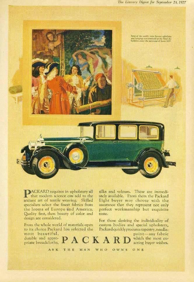 1927 PACKARD ADVERT - 'HOTEL DES GOBELINS'