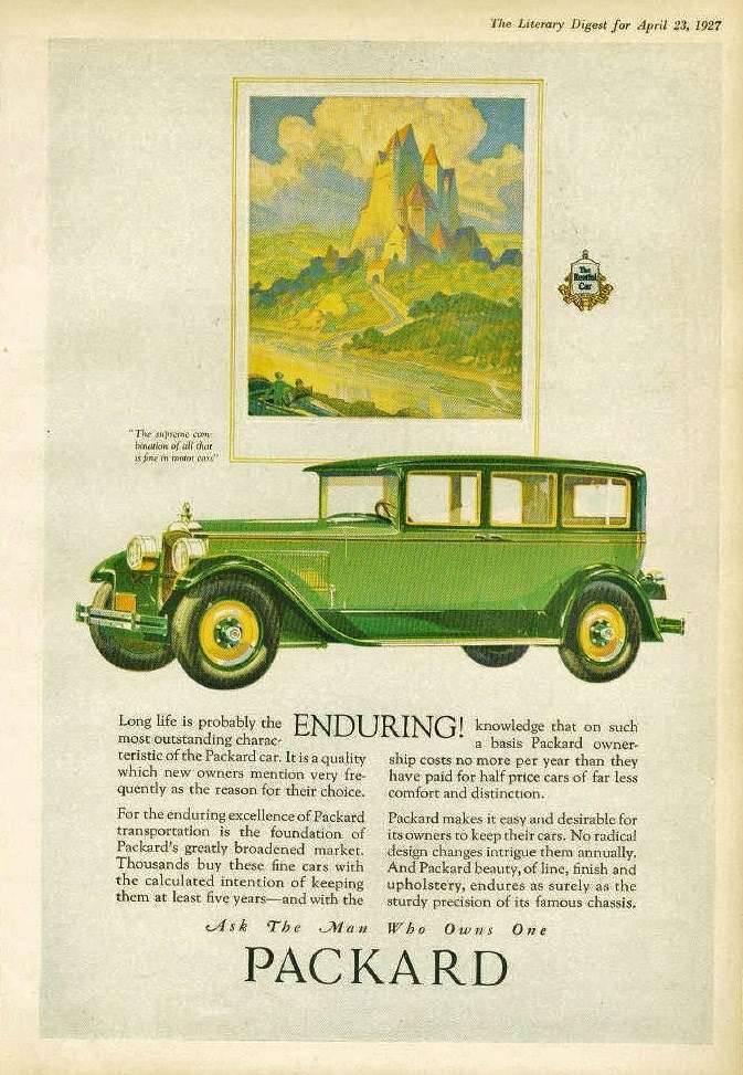1927 PACKARD ADVERT - 'ENDURING'