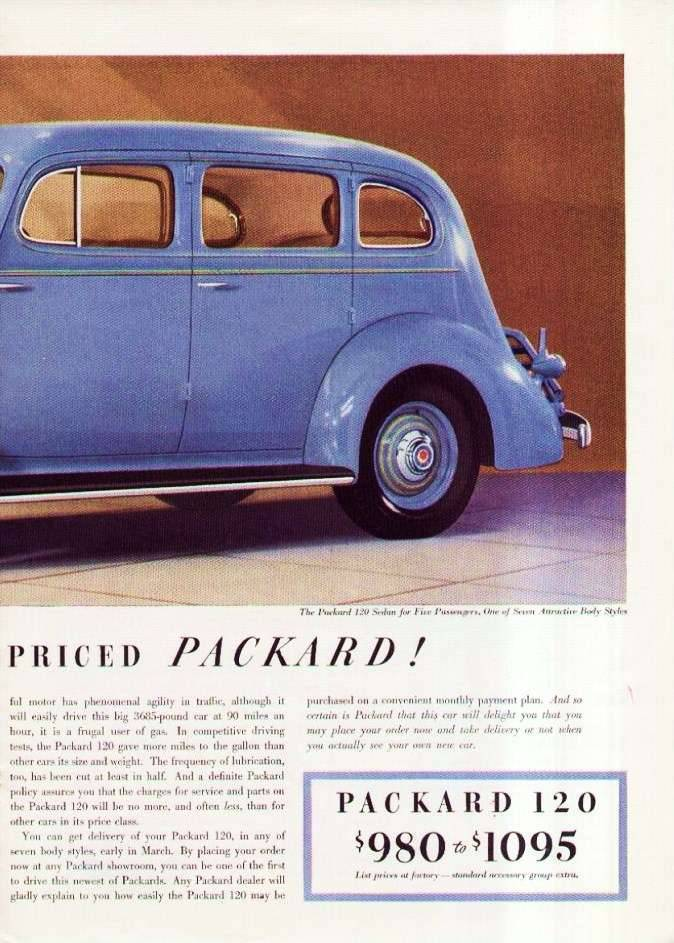 1936 PACKARD 120 ADVERT RH