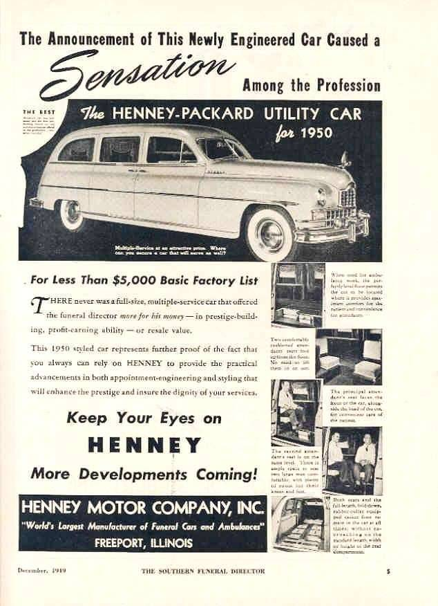1950 PACKARD-HENNEY ADVERT-B&W