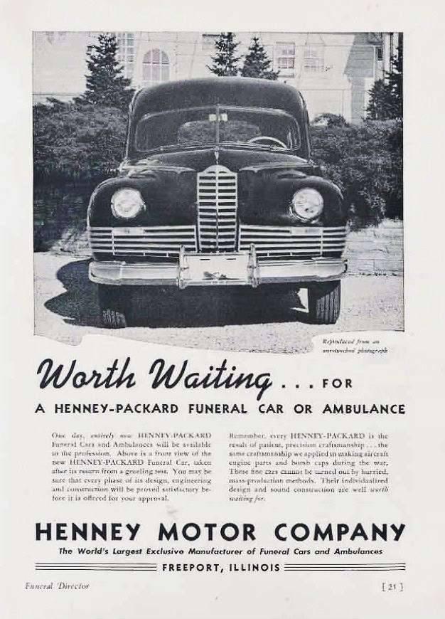 1946 PACKARD-HENNEY ADVERT-B&W