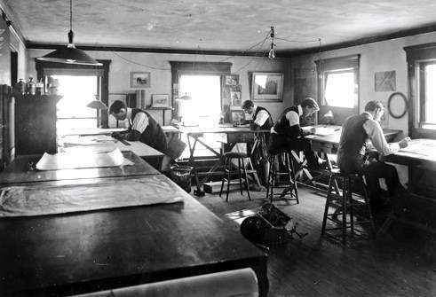1901 PACKARD DRAFTING ROOM IN WARREN, OHIO-B&W